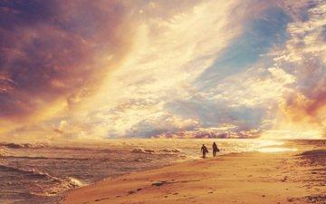 the sky, shore, wave, sea, sand, beach, people, horizon, walk, surfing
