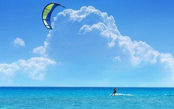 небо, облака, море, кайтинг, серфинг