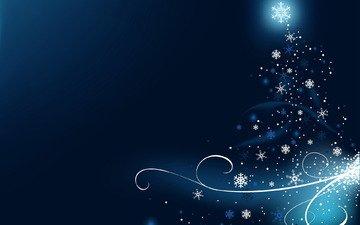 елка, украшения, узоры, блеск, завитки