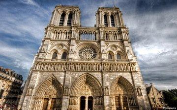 небо, облака, собор парижской богоматери