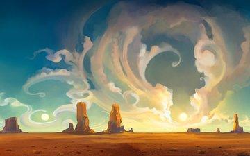 облака, закат, пустыня