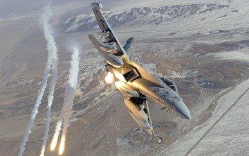 огонь, истребитель, f-18, ea-18g growler, военная авиация, ракеты