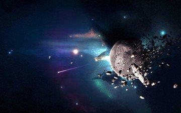 планета, осколки, астероиды, катастрофа