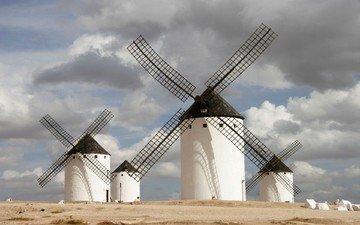 облака, мельницы