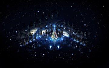 ночь, огни, новый год, елка, зима, игрушки, праздник, нарядная, снеговики