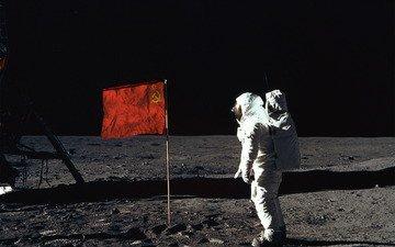 луна, ссср, человек, флаг, первый, на луне, космонавт