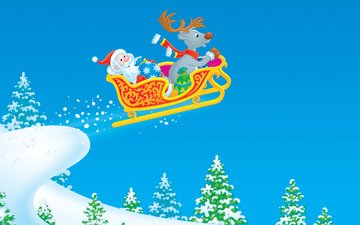 рисунок, новый год, зима, сани, дед мороз