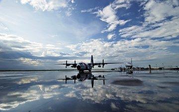 небо, вода, полоса, самолеты