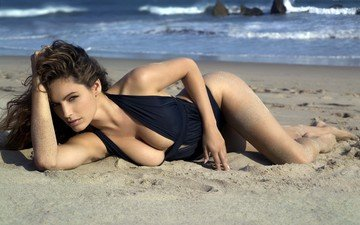 the sun, wave, sea, sand, beach, the ocean, swimsuit, kelly brook
