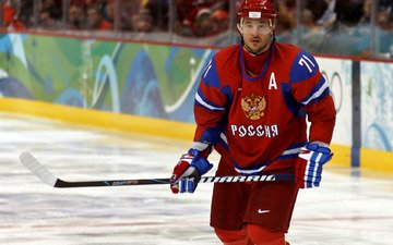 обои, шлем, илья ковальчук, хоккей, хоккеист, сборная россии, клюшка, лёд, форма, герб