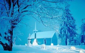 снег, зима, церковь, елки, домик