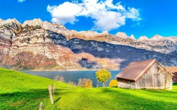 озеро, скалы, зелень, домик