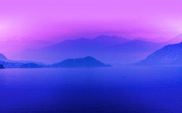 озеро, утро, туман