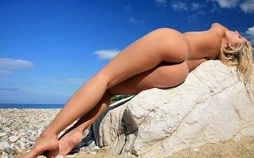 blonde, ass, stone, figure