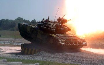 fire, t 90, shot, tank