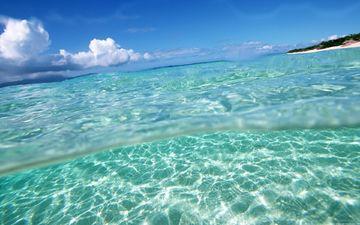 небо, пляж, океан