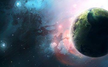 земля, звезды, планета, голубая, planets, космическая, туманности, звезд