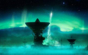 северное сияние, ракета, антенна