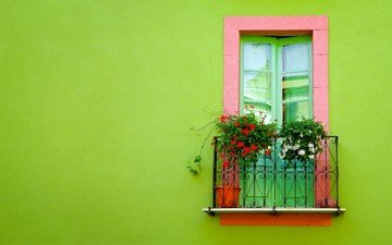 зелёный, стена, окно, балкон
