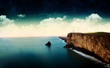 море, маяк, обрыв