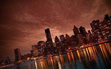 ночь, огни, река, город, небоскребы, манхеттен, нью йорк, манхэттен, nyc