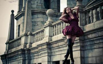 девушка, модель, башни, архитектурный объект, шпили