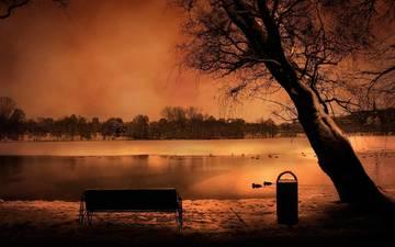 небо, вода, вечер, пейзаж, романтика, скамейка, романтик, лавка, рек, дерево