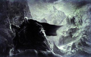 горы, снег, меч, замок, плащ, warcraft 3, артес, костяная, коза, статуя