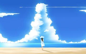 небо, облака, пляж, лето