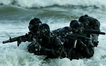 wave, marine special forces, combat, swimmers, group, sea, weapons, machines, scuba, mask