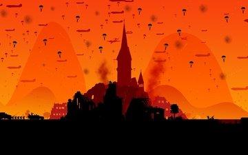 руины, стрельба, войнушка, десант, танки