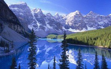 горы, отражение, снежные вершины, горное озеро