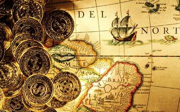 карта, деньги, пираты, золото, монеты, валлпапер