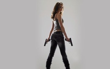 wallpaper, girl, gun
