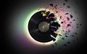 музыка, черный, винил, куски, пластинка