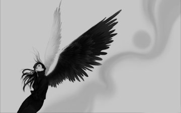 girl, wings, black