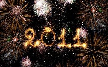 небо, ночь, новый год, салют, цифры, праздник, фейерверк, дата, 2011 год