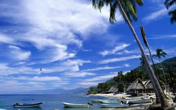море, пляж, лодки, бунгало