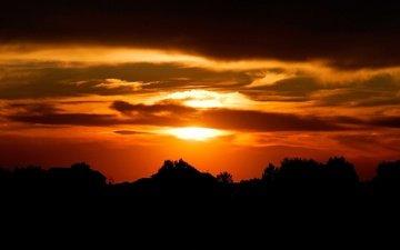 небо, закат, силуэты