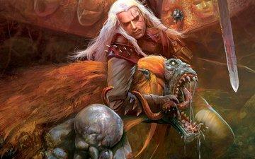 меч, ведьмак, стрыга, медальон