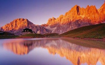 озеро, горы, восход, отражение, дом