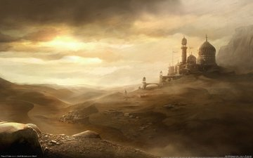 небо, песок, пустыня, город, принц персии, ветер, пыль