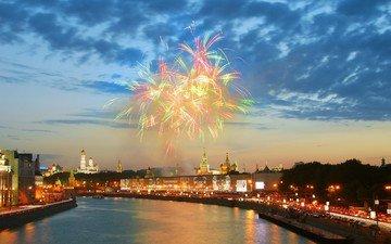 река, москва, салют, кремль