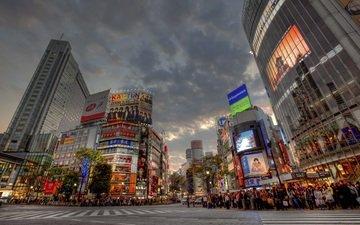 закат, японии, shibuya