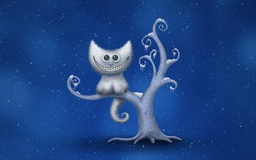 tree, winter, snowflakes, smile, cheshire cat