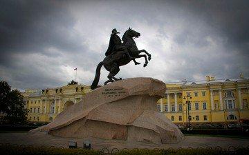 санкт-петербург, питер, памятник, петр, медный всадник