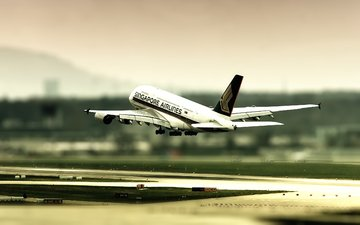 airbus 380, zurich airport, the rise, tilt shift