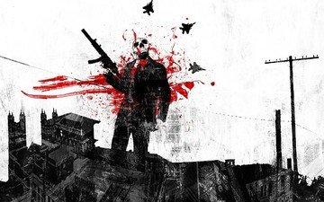 оружие, кровь, пистолет, череп, кроваво