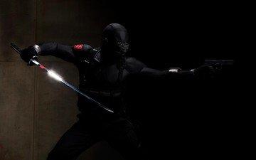 меч, пистолет, черный, ниньзя