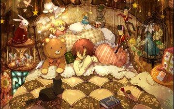 подушки, животные, девочка, игрушки, мальчик, кровать, книжки, много, спят